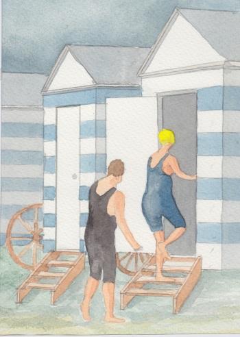(c) Karel Dasseville - badkarren aquarel
