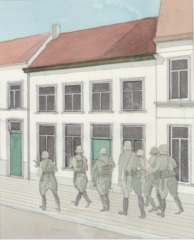(c) Karel Dasseville - aquarel terugtrekkende Duitsers