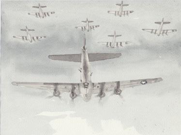 (c) Karel Dasseville - aquarel bommenwerpers