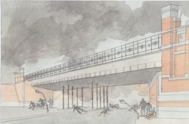 (c) Karel Dasseville - aquarel brug Mortsel 5april