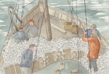 (c) Karel Dasseville - aquarel haringvangst