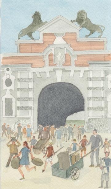 (c) Karel Dasseville - aquarel plunderen na bevrijding