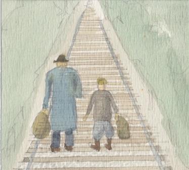 (c) Karel Dasseville - aquarel smokkel met vader