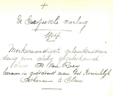 Hoofding dagboek August Van Roey