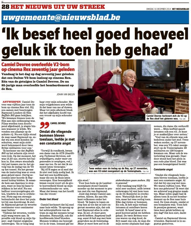 Het Nieuwsblad 16-dec-2014 Camiel De Vree