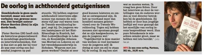 Het Nieuwsblad 16-dec-2014 Pieter Serrien