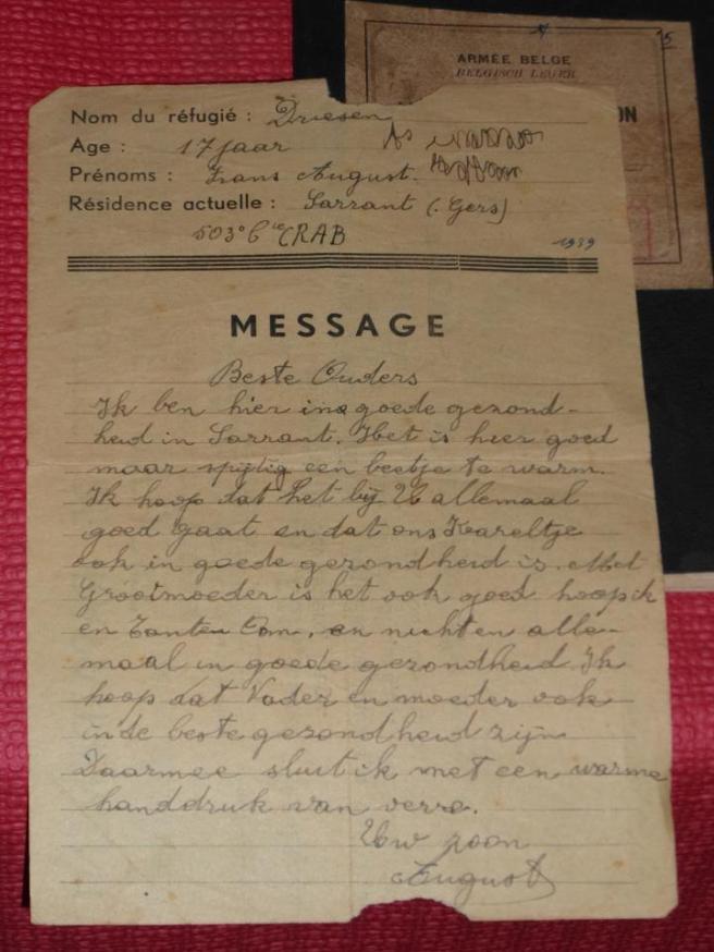 brief Frans August Driesen aan ouders