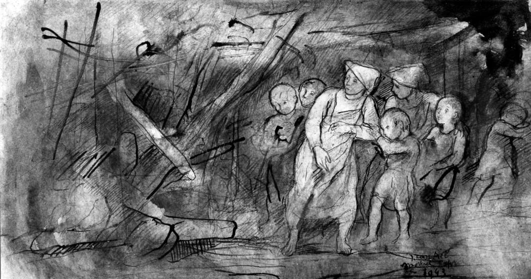 Tekening Jules Van Ael - In Sint-Lutgardis kwamen 61 kinderen en 5 zusters om.