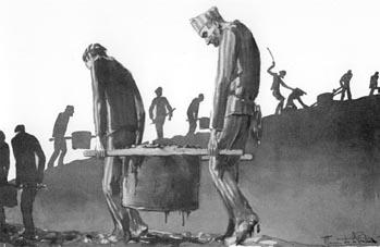 De hel van Dora - Tekening van de Franse gevangene Maurice de la Pintière.