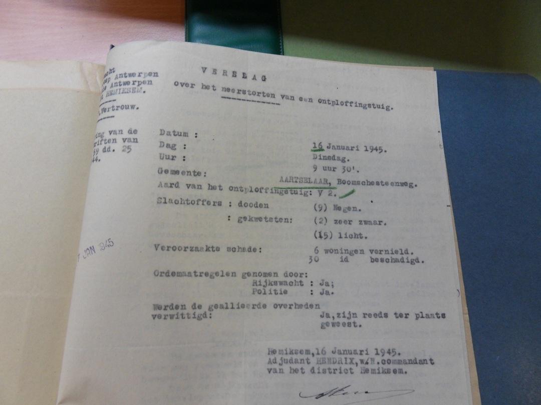 Geheim verslag in het Militair Archief van Evere.