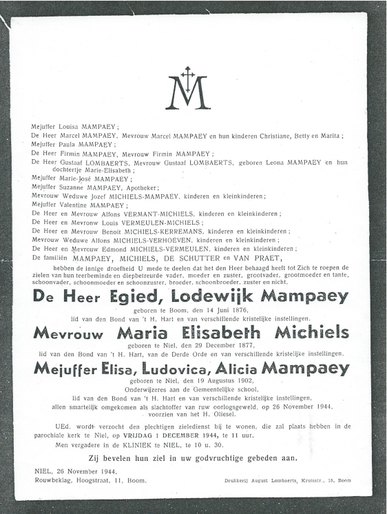 26 november 1944 Doodsbrief
